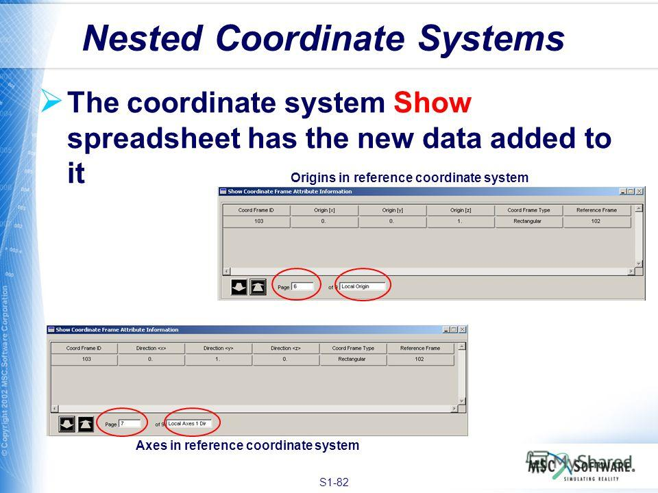 S1-82 The coordinate system Show spreadsheet has the new data added to it Nested Coordinate Systems Origins in reference coordinate system Axes in reference coordinate system