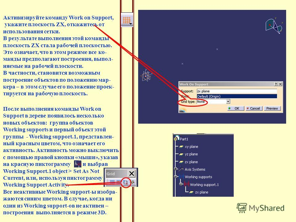 Активизируйте команду Work on Support, укажите плоскость ZX, откажитесь от использования сетки. В результате выполнения этой команды плоскость ZX стала рабочей плоскостью. Это означает, что в этом режиме все ко- манды предполагают построения, выпол-