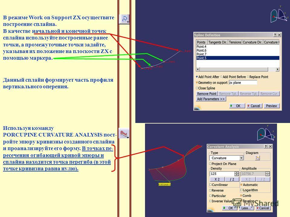 В режиме Work on Support ZX осуществите построение сплайна. В качестве начальной и конечной точек сплайна используйте построенные ранее точки, а промежуточные точки задайте, указывая их положение на плоскости ZX с помощью маркера. Данный сплайн форми