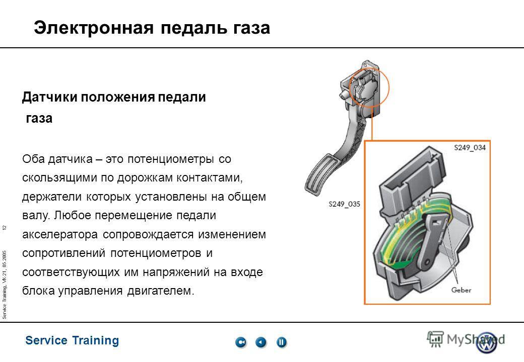 12 Service Training Service Training, VK-21, 05.2005 Датчики положения педали газа Оба датчика – это потенциометры со скользящими по дорожкам контактами, держатели которых установлены на общем валу. Любое перемещение педали акселератора сопровождаетс