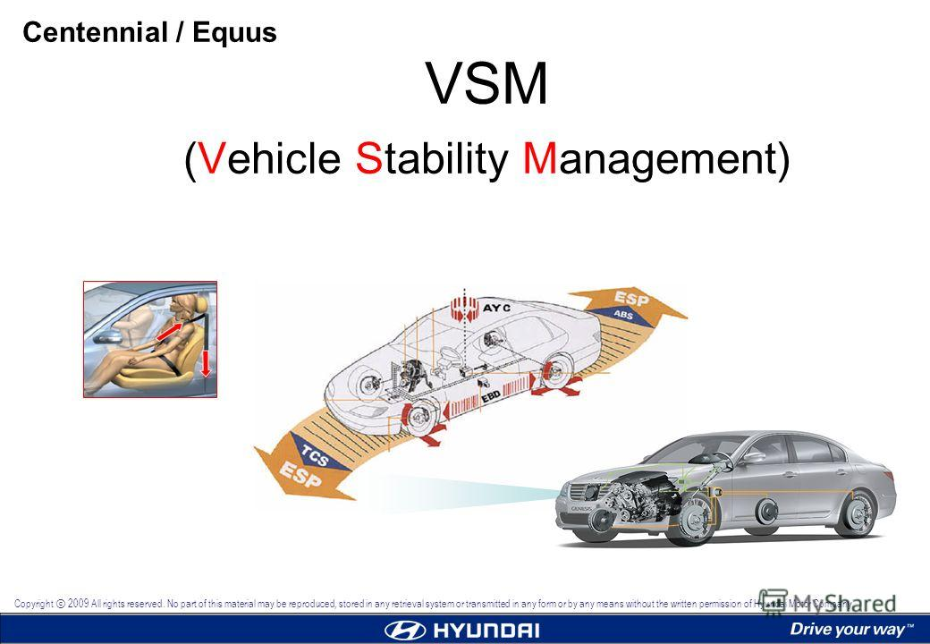 VSM (Vehicle Stability Management) Centennial / Equus Copyright 2009 All rights reserved. No part of this material may be reproduced, stored in any retrieval system or transmitted in any form or by any means without the written permission of Hyundai