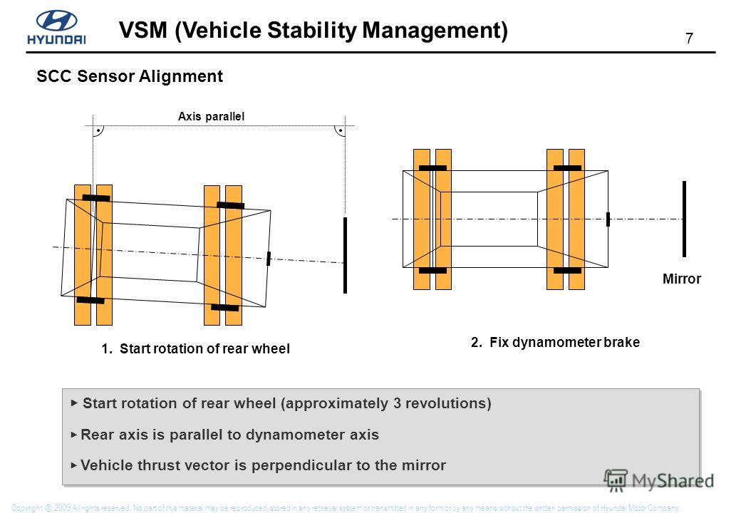 7 VSM (Vehicle Stability Management) Copyright 2009 All rights reserved. No part of this material may be reproduced, stored in any retrieval system or transmitted in any form or by any means without the written permission of Hyundai Motor Company. Ax