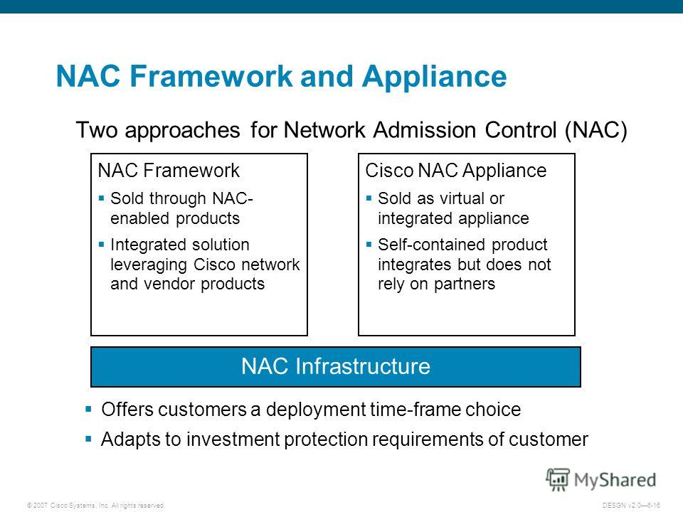 © 2007 Cisco Systems, Inc. All rights reserved.DESGN v2.06-16 NAC Framework and Appliance Two approaches for Network Admission Control (NAC) Offers customers a deployment time-frame choice Adapts to investment protection requirements of customer NAC