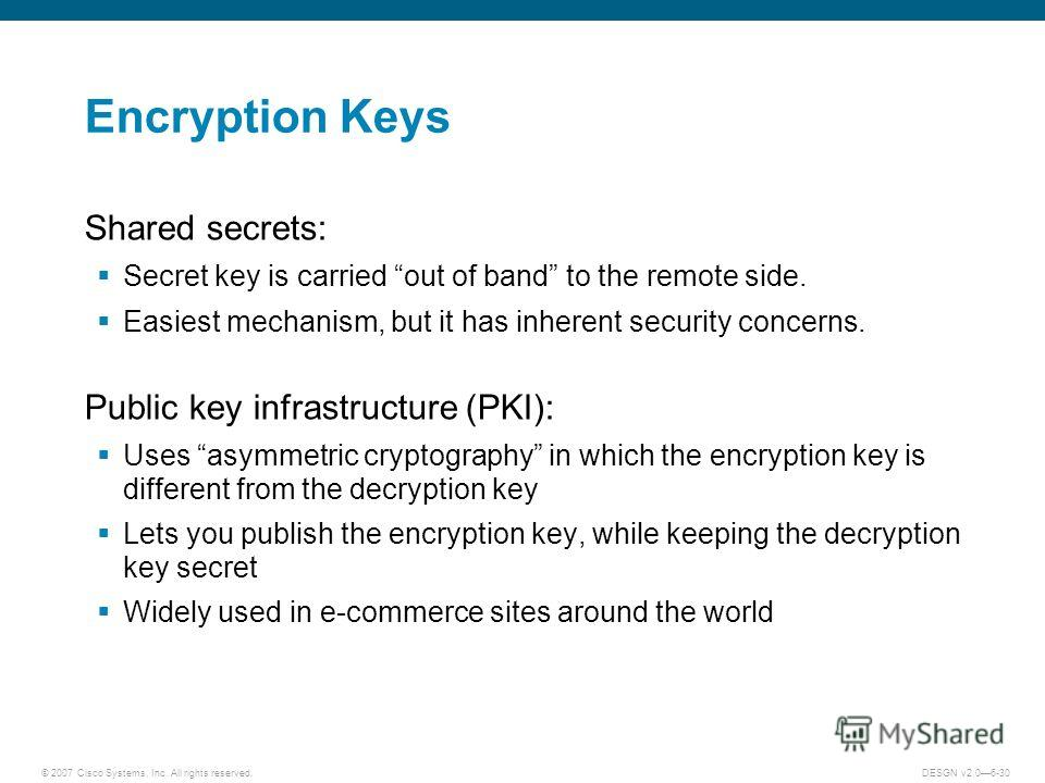 © 2007 Cisco Systems, Inc. All rights reserved.DESGN v2.06-30 Encryption Keys Shared secrets: Secret key is carried out of band to the remote side. Easiest mechanism, but it has inherent security concerns. Public key infrastructure (PKI): Uses asymme