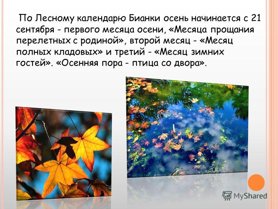 По Лесному календарю Бианки осень начинается с 21 сентября - первого месяца осени, «Месяца прощания перелетных с родиной», второй месяц - «Месяц полных кладовых» и третий - «Месяц зимних гостей». «Осенняя пора - птица со двора».