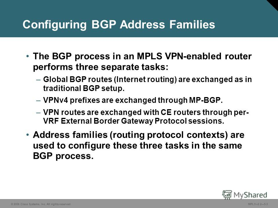 © 2006 Cisco Systems, Inc. All rights reserved. MPLS v2.25-3 Configuring BGP Address Families The BGP process in an MPLS VPN-enabled router performs three separate tasks: –Global BGP routes (Internet routing) are exchanged as in traditional BGP setup