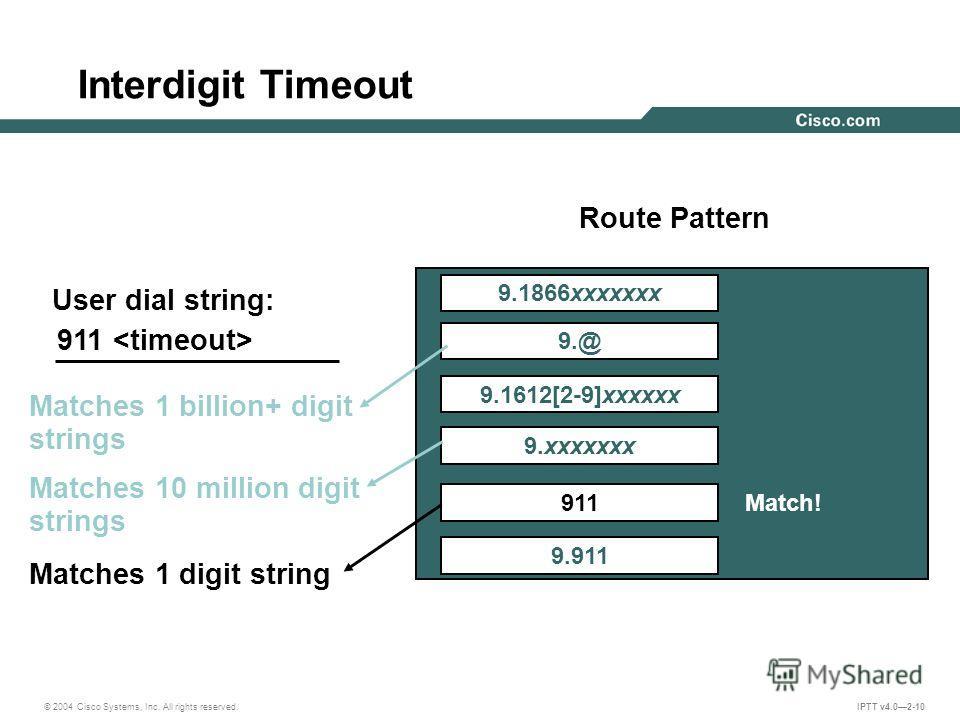© 2004 Cisco Systems, Inc. All rights reserved. IPTT v4.02-10 Interdigit Timeout User dial string: 911 Route Pattern 9.1866xxxxxxx 9.@ 9.1612[2-9]xxxxxx 9. xxxxxxx 9.911 911 Match! Matches 1 billion+ digit strings Matches 10 million digit strings Mat