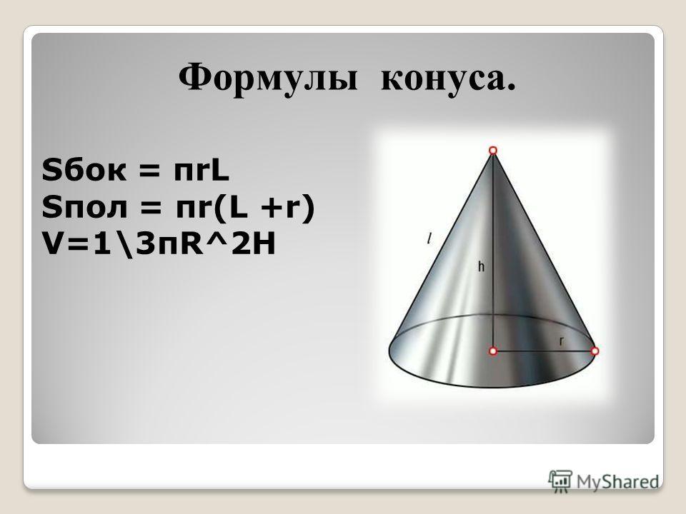 Формулы конуса. Sбок = πrL Sпол = πr(L +r) V=1\3πR^2H