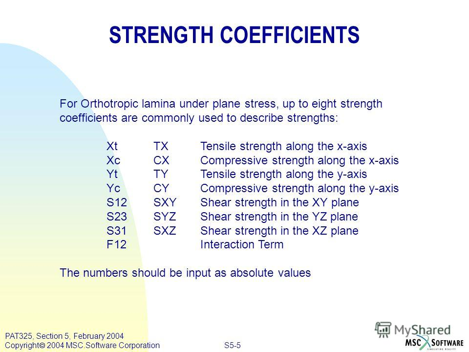 S5-5 PAT325, Section 5, February 2004 Copyright 2004 MSC.Software Corporation STRENGTH COEFFICIENTS For Orthotropic lamina under plane stress, up to eight strength coefficients are commonly used to describe strengths: Xt TXTensile strength along the