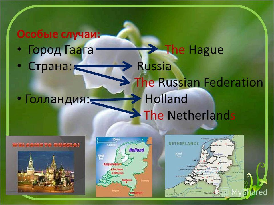Особые случаи: Город Гаага The Hague Страна: Russia The Russian Federation Голландия: Holland The Netherlands