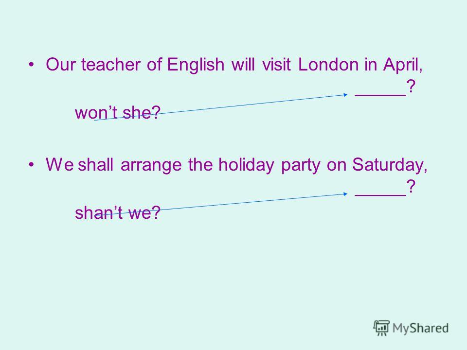 Our teacher of English will visit London in April, _____? wont she? We shall arrange the holiday party on Saturday, _____? shant we?