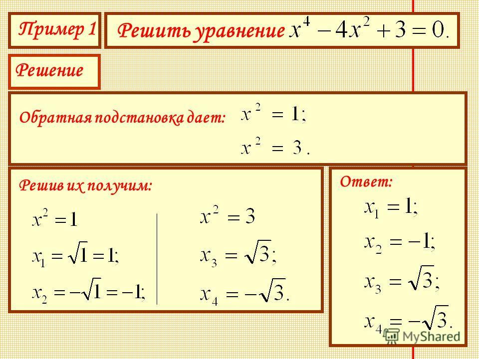 Пример 1 Решить уравнение Решение Обратная подстановка дает: Решив их получим: Ответ: