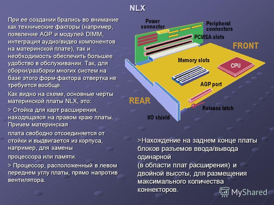 NLX При ее создании брались во внимание как технические факторы (например, появление AGP и модулей DIMM, интеграция аудио/видео компонентов на материнской плате), так и необходимость обеспечить большее удобство в обслуживании. Так, для сборки/разборк