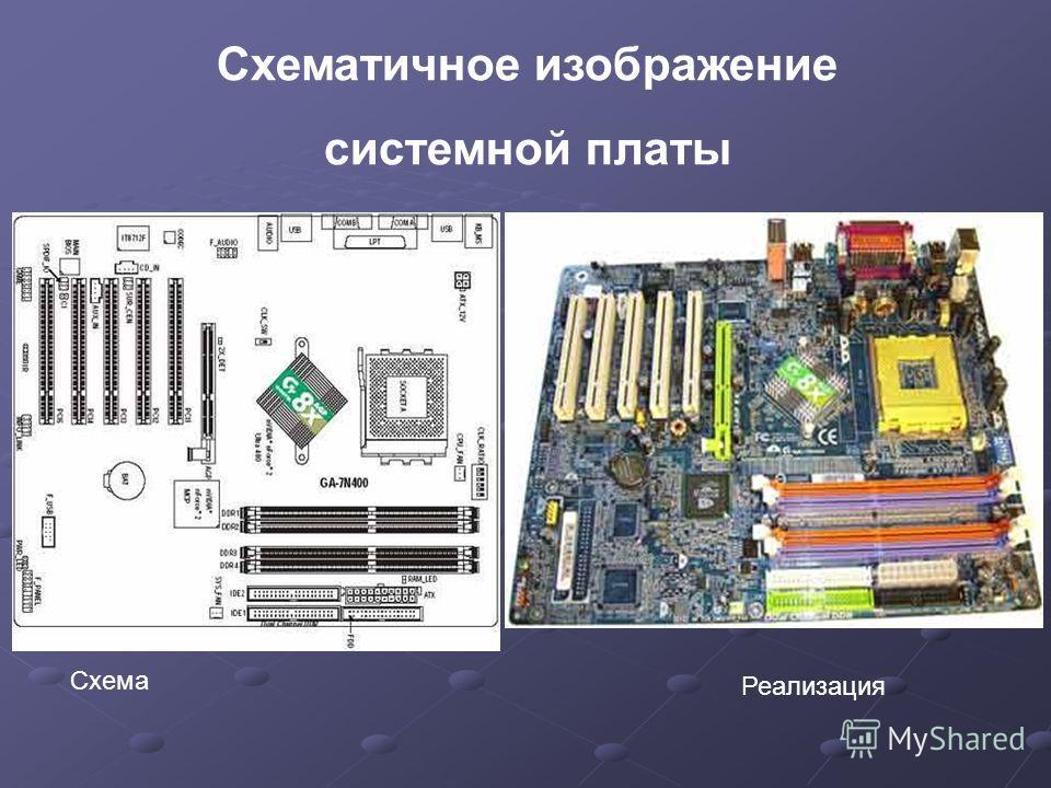 Схематичное изображение системной платы Схема Реализация