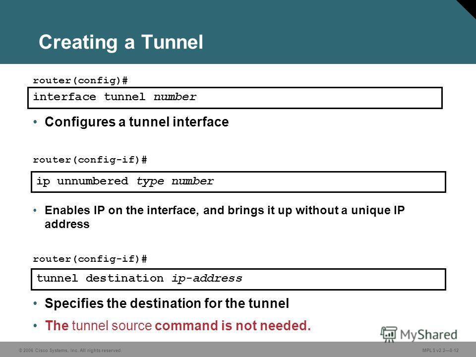© 2006 Cisco Systems, Inc. All rights reserved. MPLS v2.28-12 ip unnumbered type number Enables IP on the interface, and brings it up without a unique IP address router(config-if)# Creating a Tunnel interface tunnel number router(config)# Configures