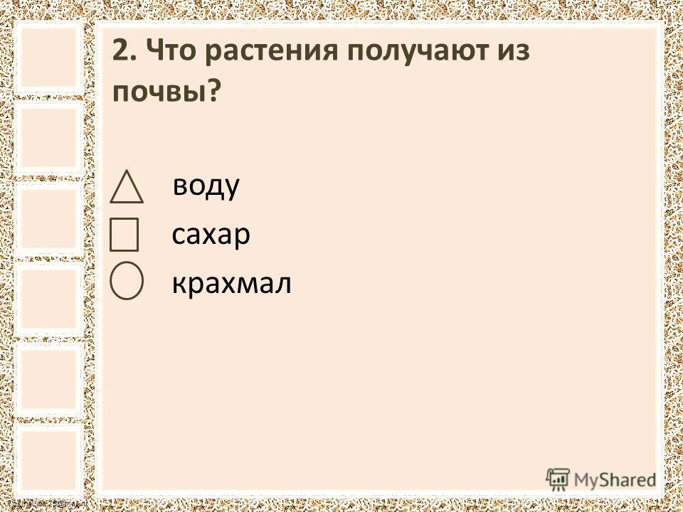 FokinaLida.75@mail.ru 2. Что растения получают из почвы? воду сахар крахмал