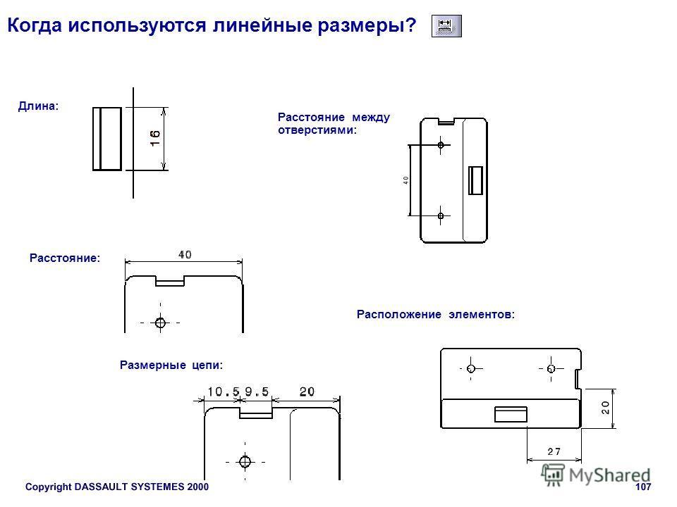 Когда используются линейные размеры? Длина: Расстояние между отверстиями: Расстояние: Размерные цепи: Расположение элементов: