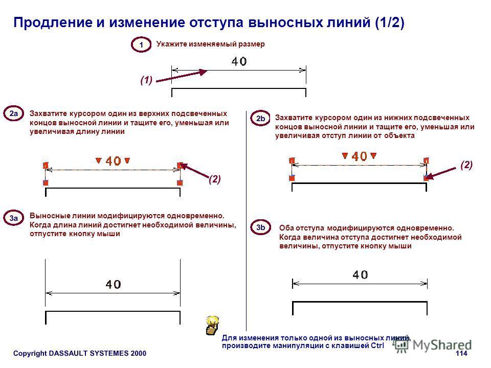 Продление и изменение отступа выносных линий (1/2) Укажите изменяемый размер Захватите курсором один из верхних подсвеченных концов выносной линии и тащите его, уменьшая или увеличивая длину линии Захватите курсором один из нижних подсвеченных концов
