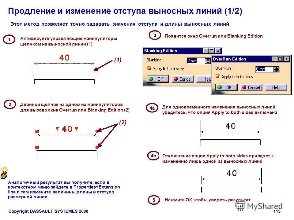 Продление и изменение отступа выносных линий (1/2) Этот метод позволяет точно задавать значения отступа и длины выносных линий Активируйте управляющие манипуляторы щелчком на выносной линии (1) Двойной щелчок на одном из манипуляторов для вызова окна