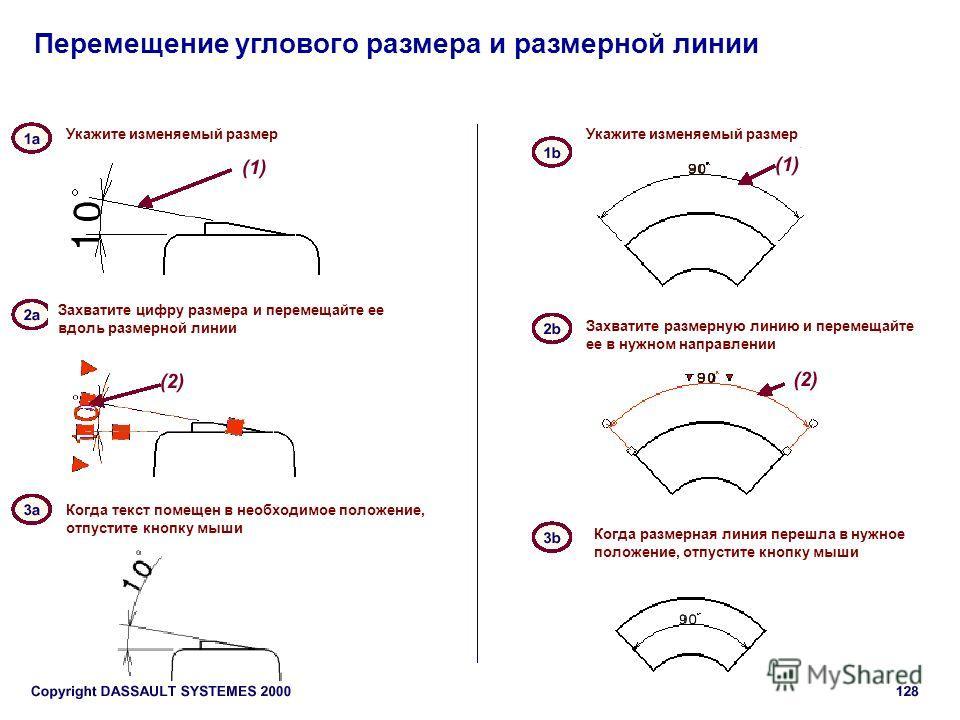 Перемещение углового размера и размерной линии Укажите изменяемый размер Захватите цифру размера и перемещайте ее вдоль размерной линии Когда текст помещен в необходимое положение, отпустите кнопку мыши Захватите размерную линию и перемещайте ее в ну