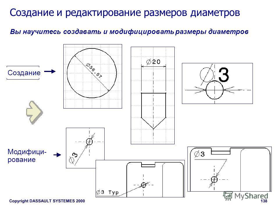 Создание и редактирование размеров диаметров Вы научитесь создавать и модифицировать размеры диаметров Создание Модифици- рование