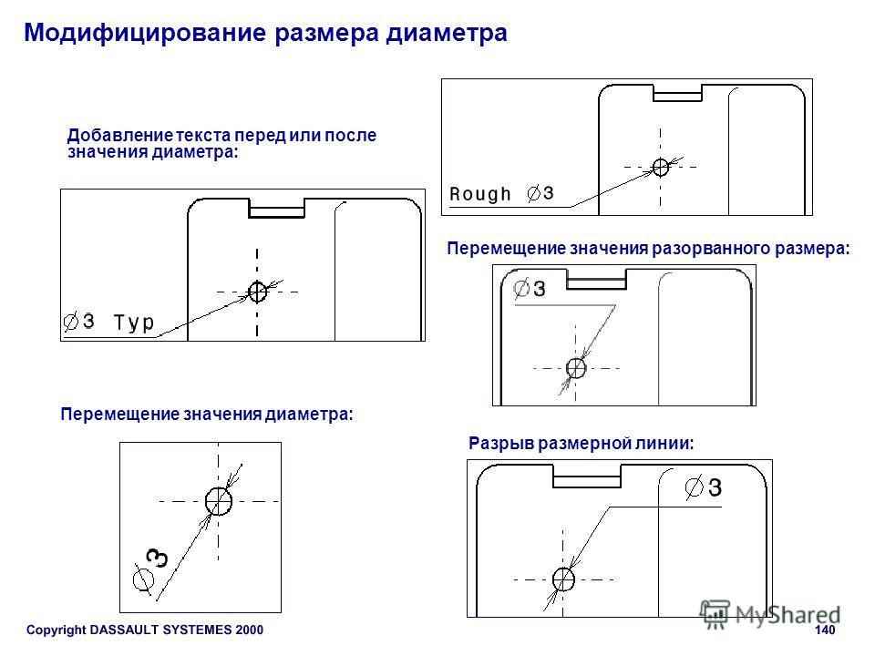 Модифицирование размера диаметра Добавление текста перед или после значения диаметра: Перемещение значения диаметра: Разрыв размерной линии: Перемещение значения разорванного размера: