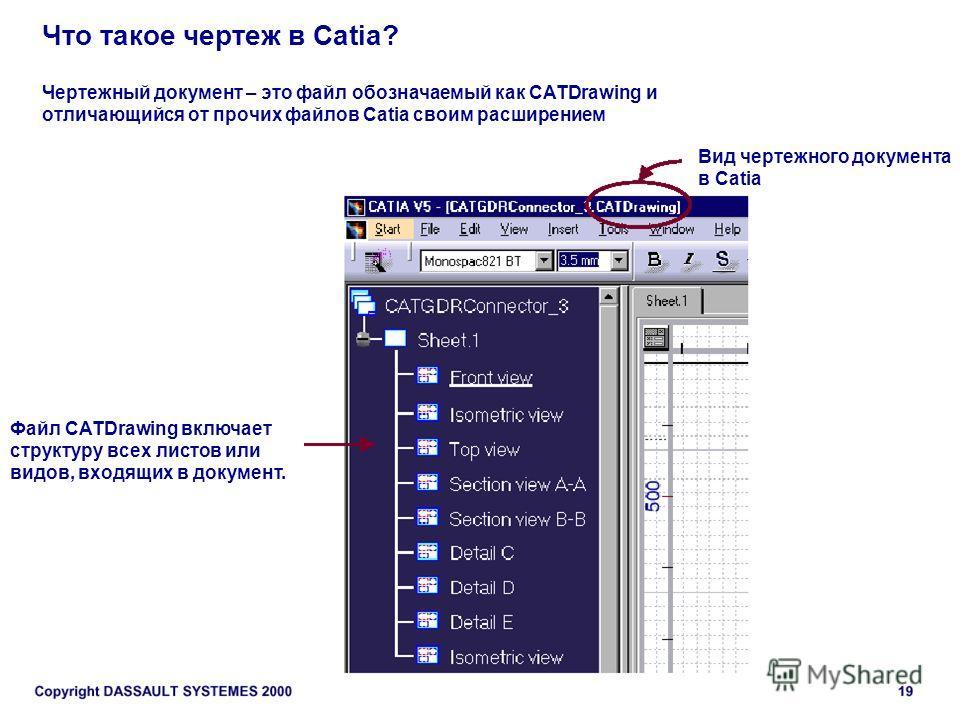 Что такое чертеж в Catia? Чертежный документ – это файл обозначаемый как CATDrawing и отличающийся от прочих файлов Catia своим расширением Вид чертежного документа в Catia Файл CATDrawing включает структуру всех листов или видов, входящих в документ