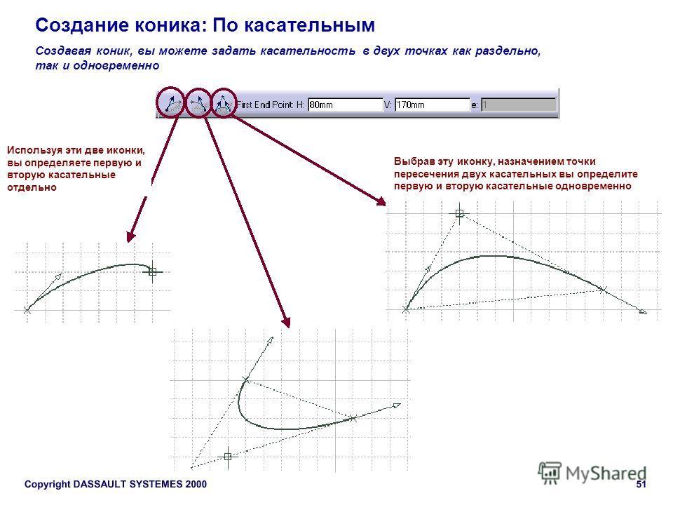 Создание коника: По касательным Создавая коник, вы можете задать касательность в двух точках как раздельно, так и одновременно Используя эти две иконки, вы определяете первую и вторую касательные отдельно Выбрав эту иконку, назначением точки пересече