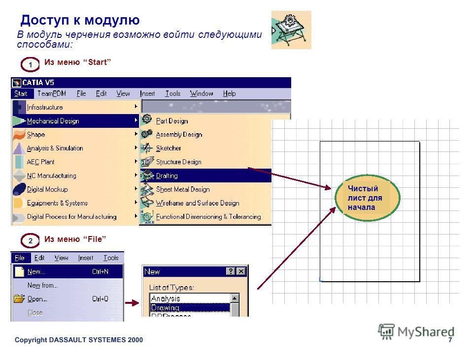 Доступ к модулю В модуль черчения возможно войти следующими способами: Из меню Start Из меню File Чистый лист для начала