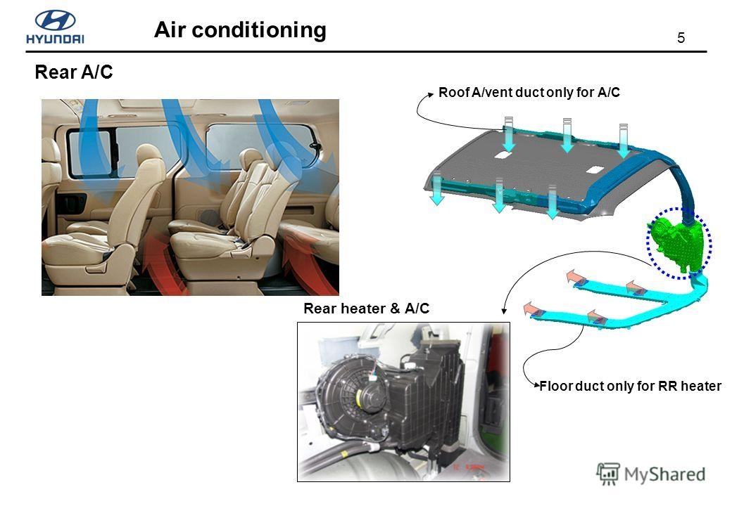 5 Air conditioning Rear A/C Roof A/vent duct only for A/C Floor duct only for RR heater Rear heater & A/C