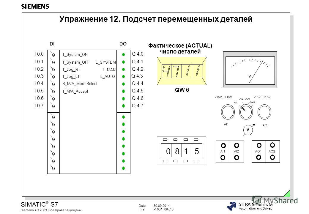 Date:30.09.2014 File:PRO1_08r.13 SIMATIC ® S7 Siemens AG 2003. Все права защищены. SITRAIN Training for Automation and Drives Упражнение 12. Подсчет перемещенных деталей I 0.0 I 0.1 I 0.2 I 0.3 I 0.4 I 0.5 I 0.6 I 0.7 Q 4.0 Q 4.1 Q 4.2 Q 4.3 Q 4.4 Q
