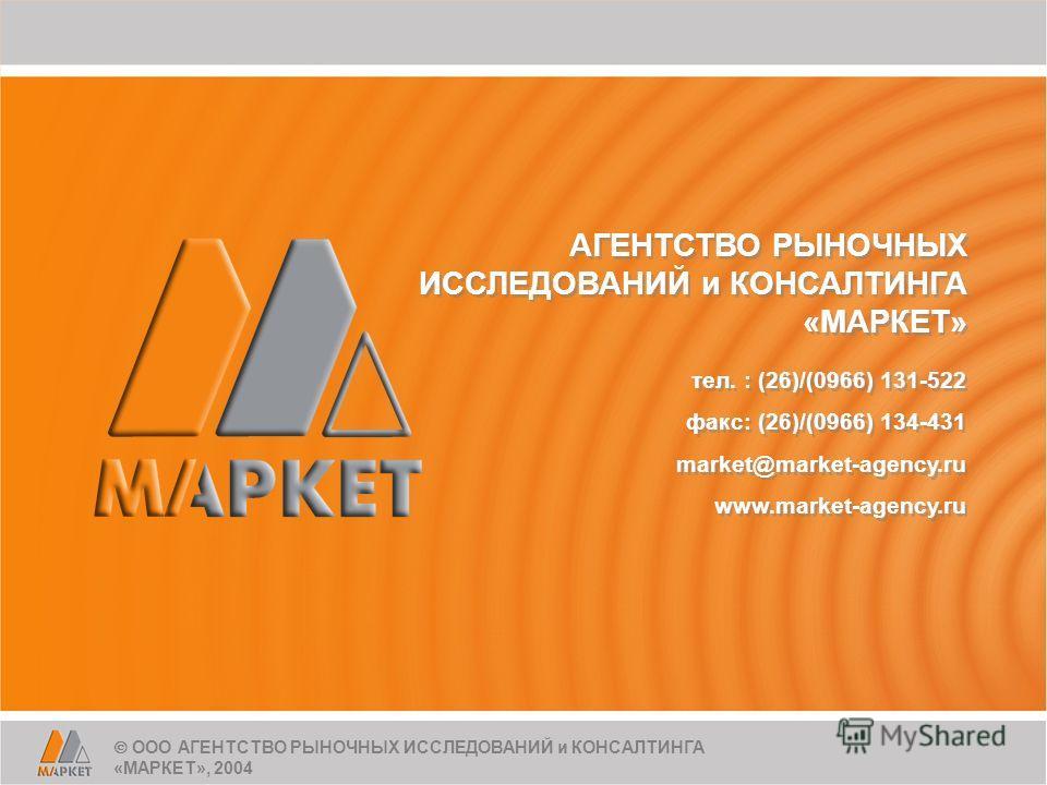 АГЕНТСТВО РЫНОЧНЫХ ИССЛЕДОВАНИЙ и КОНСАЛТИНГА «МАРКЕТ» АГЕНТСТВО РЫНОЧНЫХ ИССЛЕДОВАНИЙ и КОНСАЛТИНГА «МАРКЕТ» тел. : (26)/(0966) 131-522 факс: (26)/(0966) 134-431 market@market-agency.ru www.market-agency.ru тел. : (26)/(0966) 131-522 факс: (26)/(096