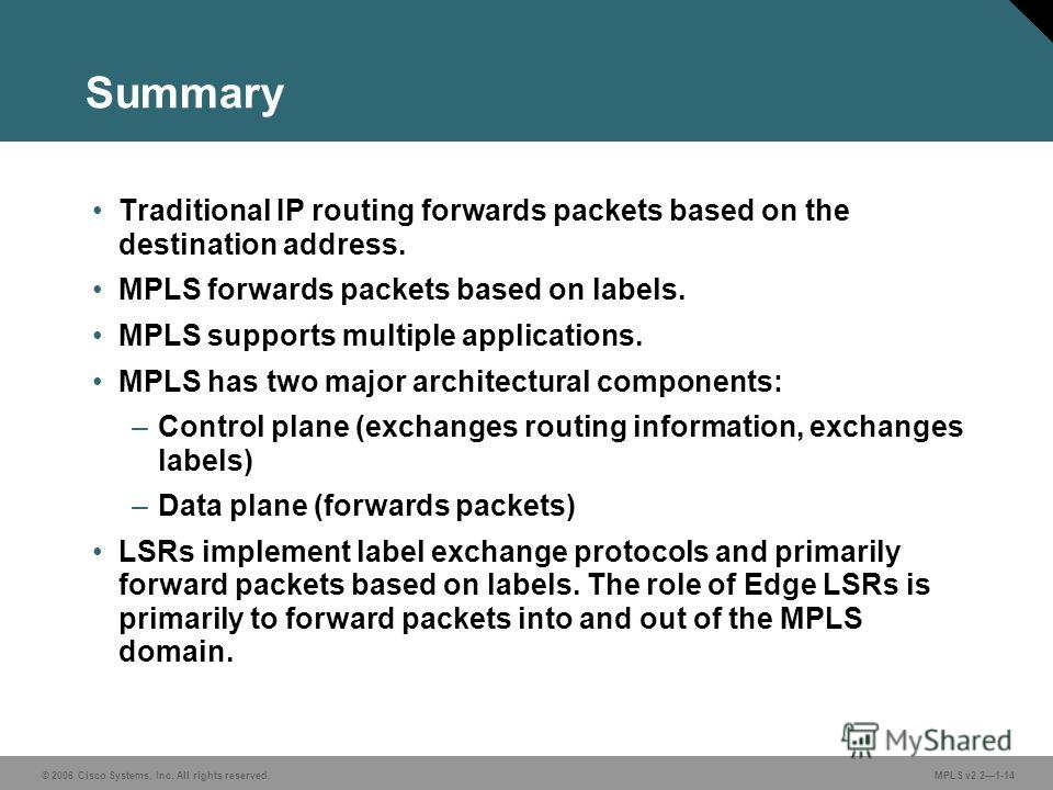 © 2006 Cisco Systems, Inc. All rights reserved. MPLS v2.21-14 Summary Traditional IP routing forwards packets based on the destination address. MPLS forwards packets based on labels. MPLS supports multiple applications. MPLS has two major architectur