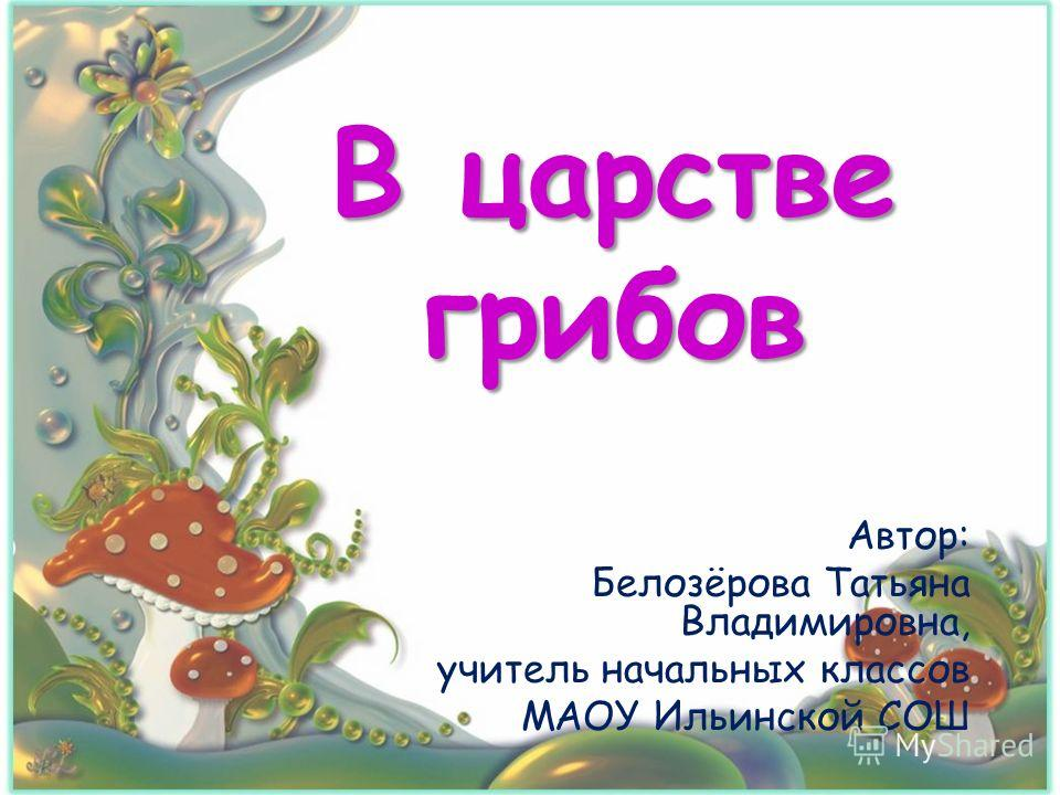 В царстве грибов Автор: Белозёрова Татьяна Владимировна, учитель начальных классов МАОУ Ильинской СОШ