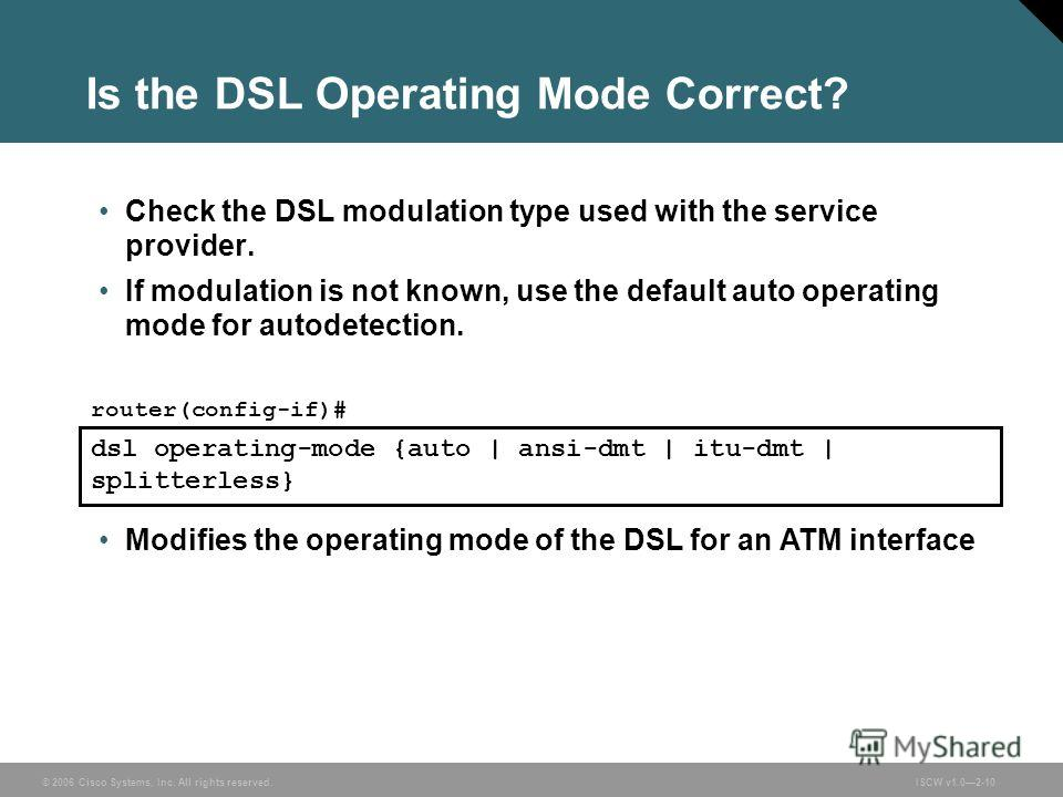 © 2006 Cisco Systems, Inc. All rights reserved.ISCW v1.02-10 Is the DSL Operating Mode Correct? Check the DSL modulation type used with the service provider. If modulation is not known, use the default auto operating mode for autodetection. Modifies