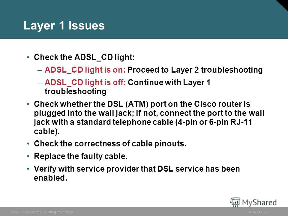 © 2006 Cisco Systems, Inc. All rights reserved.ISCW v1.02-6 Layer 1 Issues Check the ADSL_CD light: –ADSL_CD light is on: Proceed to Layer 2 troubleshooting –ADSL_CD light is off: Continue with Layer 1 troubleshooting Check whether the DSL (ATM) port