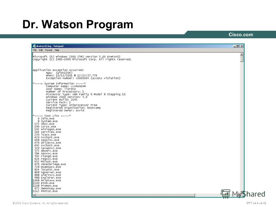 © 2004 Cisco Systems, Inc. All rights reserved. IPTT v4.06-19 Dr. Watson Program