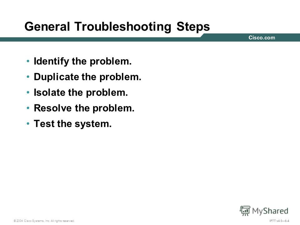 © 2004 Cisco Systems, Inc. All rights reserved. IPTT v4.06-4 General Troubleshooting Steps Identify the problem. Duplicate the problem. Isolate the problem. Resolve the problem. Test the system.