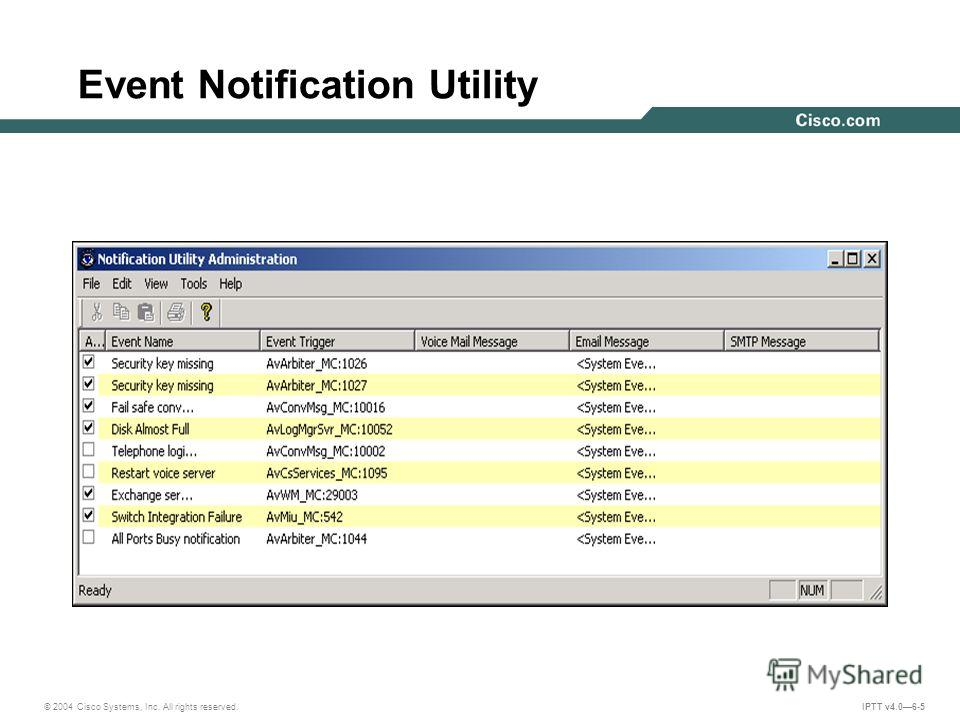 © 2004 Cisco Systems, Inc. All rights reserved. IPTT v4.06-5 Event Notification Utility