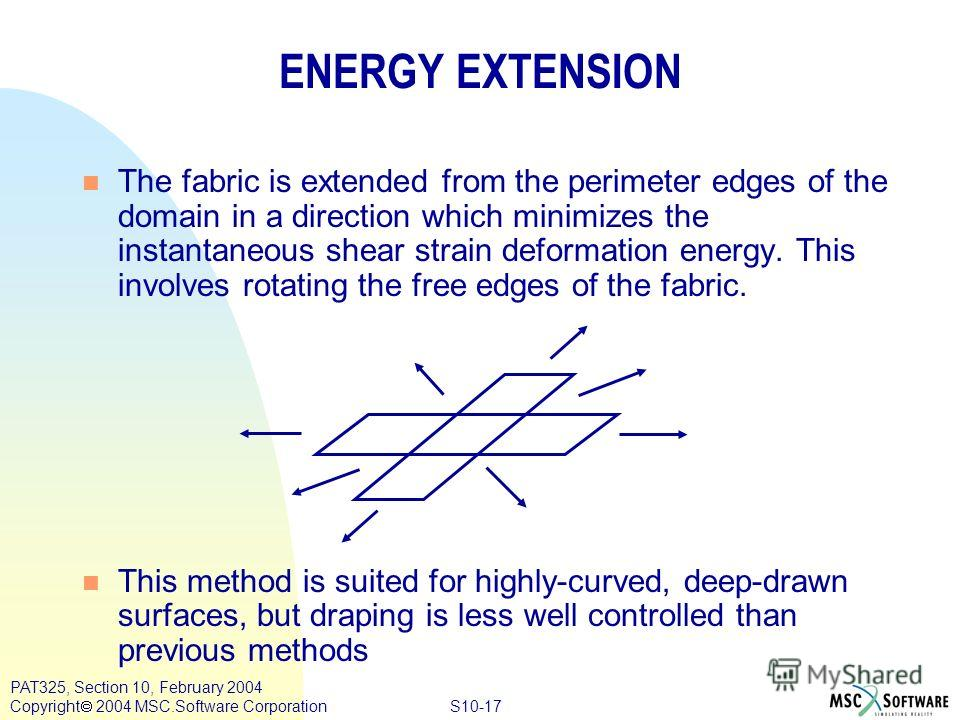 S10-17 PAT325, Section 10, February 2004 Copyright 2004 MSC.Software Corporation n The fabric is extended from the perimeter edges of the domain in a direction which minimizes the instantaneous shear strain deformation energy. This involves rotating