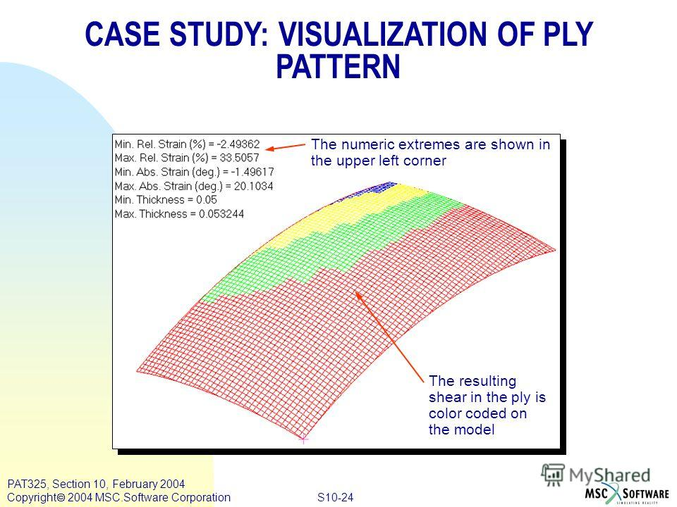 S10-24 PAT325, Section 10, February 2004 Copyright 2004 MSC.Software Corporation The numeric extremes are shown in the upper left corner The resulting shear in the ply is color coded on the model CASE STUDY: VISUALIZATION OF PLY PATTERN