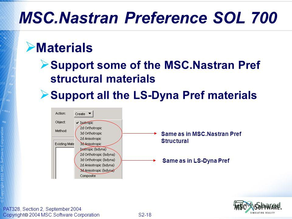 PAT328, Section 2, September 2004 Copyright 2004 MSC.Software Corporation S2-18 Materials Support some of the MSC.Nastran Pref structural materials Support all the LS-Dyna Pref materials MSC.Nastran Preference SOL 700 Same as in MSC.Nastran Pref Stru