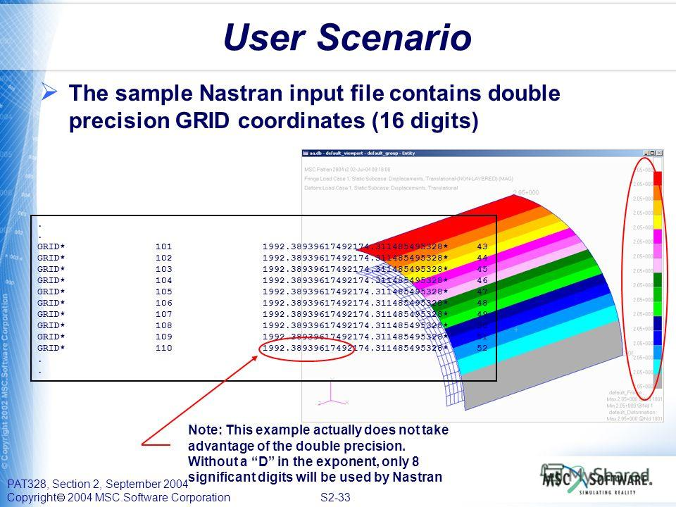 PAT328, Section 2, September 2004 Copyright 2004 MSC.Software Corporation S2-33 User Scenario The sample Nastran input file contains double precision GRID coordinates (16 digits). GRID* 101 1992.38939617492174.311485495328* 43 GRID* 102 1992.38939617