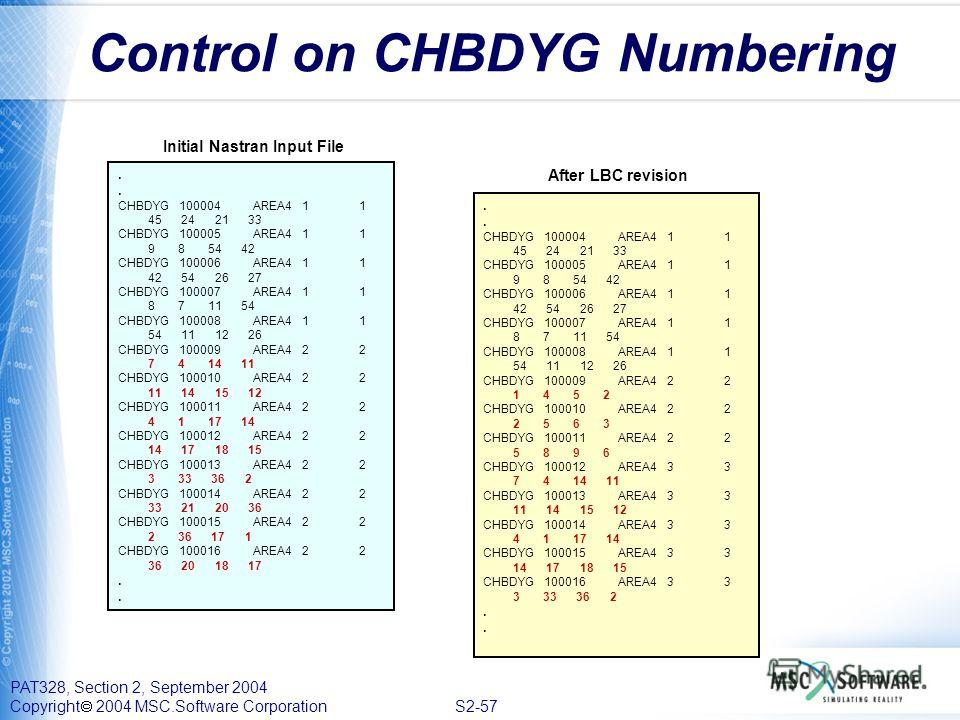 PAT328, Section 2, September 2004 Copyright 2004 MSC.Software Corporation S2-57 Control on CHBDYG Numbering. CHBDYG 100004 AREA4 1 1 45 24 21 33 CHBDYG 100005 AREA4 1 1 9 8 54 42 CHBDYG 100006 AREA4 1 1 42 54 26 27 CHBDYG 100007 AREA4 1 1 8 7 11 54 C