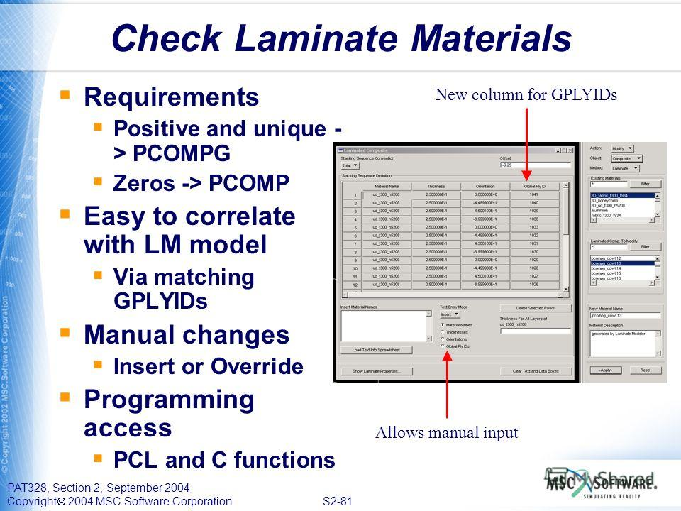 PAT328, Section 2, September 2004 Copyright 2004 MSC.Software Corporation S2-81 Check Laminate Materials Requirements Positive and unique - > PCOMPG Zeros -> PCOMP Easy to correlate with LM model Via matching GPLYIDs Manual changes Insert or Override