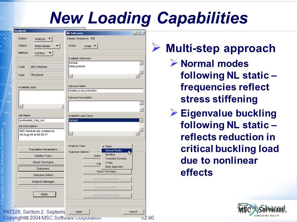 PAT328, Section 2, September 2004 Copyright 2004 MSC.Software Corporation S2-90 New Loading Capabilities Multi-step approach Normal modes following NL static – frequencies reflect stress stiffening Eigenvalue buckling following NL static – reflects r