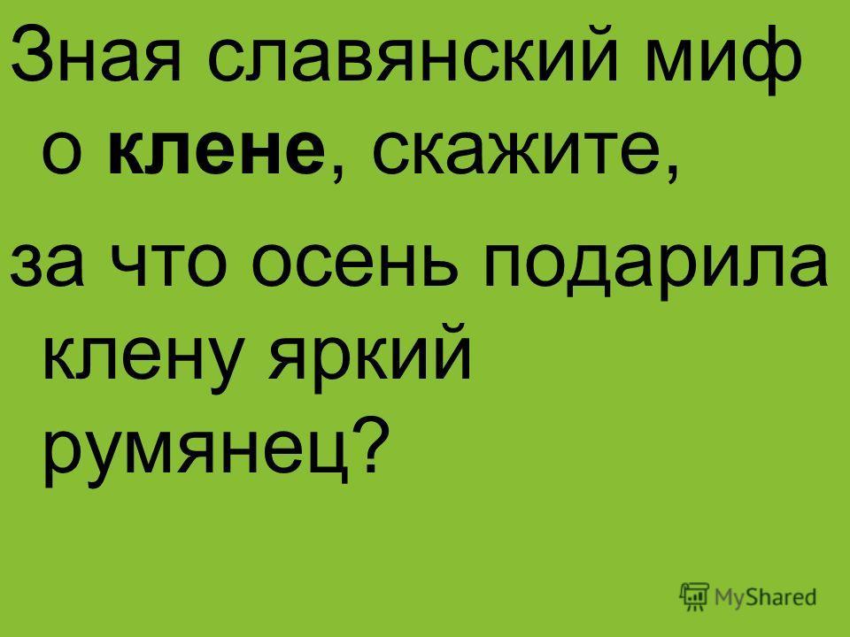 Зная славянский миф о клене, скажите, за что осень подарила клену яркий румянец?