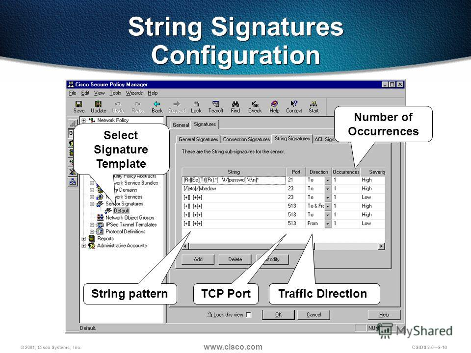 © 2001, Cisco Systems, Inc. www.cisco.com CSIDS 2.09-10 String Signatures Configuration Number of Occurrences String pattern TCP PortTraffic Direction Select Signature Template