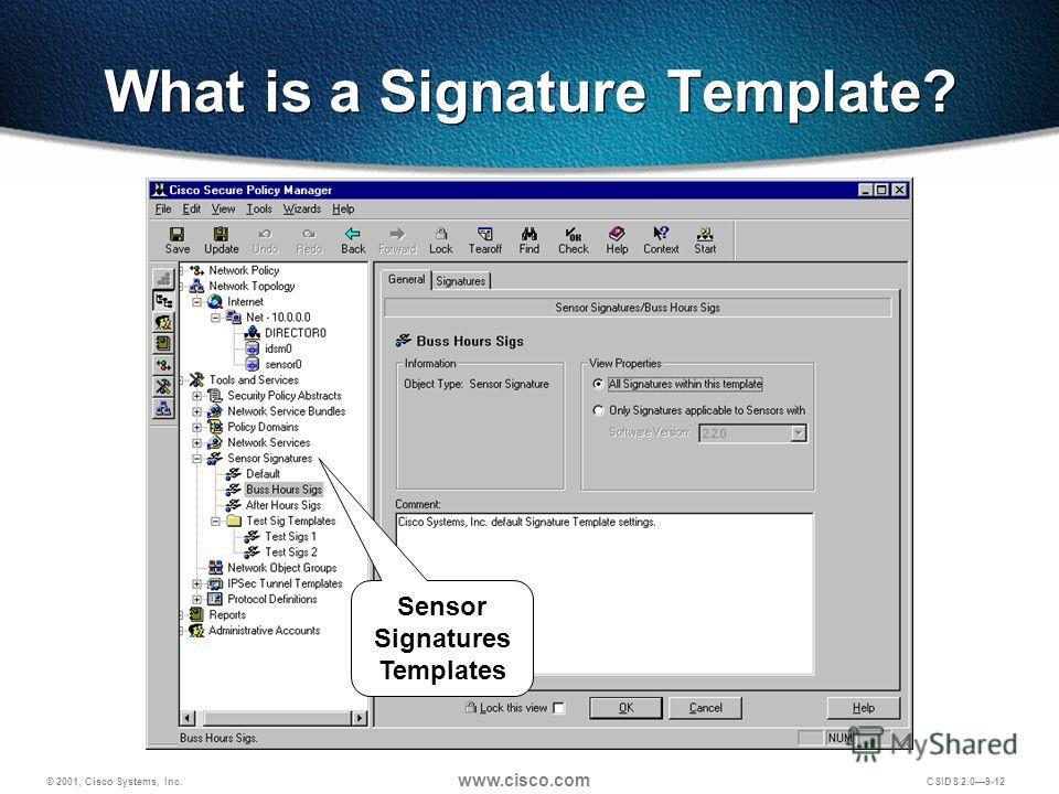 © 2001, Cisco Systems, Inc. www.cisco.com CSIDS 2.09-12 What is a Signature Template? Sensor Signatures Templates