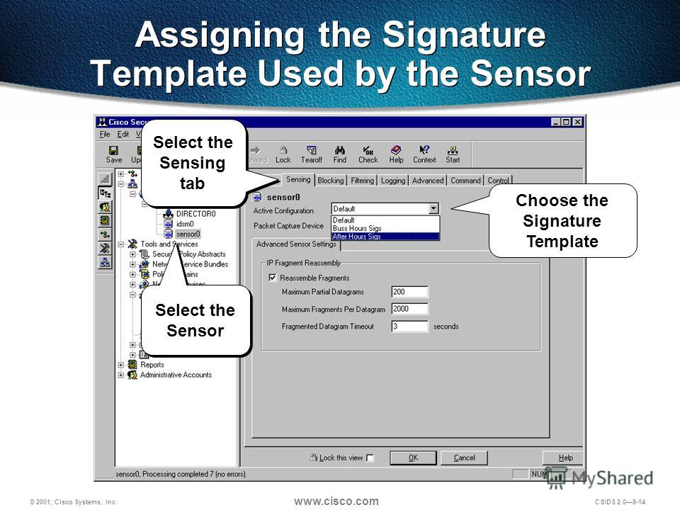 © 2001, Cisco Systems, Inc. www.cisco.com CSIDS 2.09-14 Assigning the Signature Template Used by the Sensor Choose the Signature Template Select the Sensor Select the Sensing tab